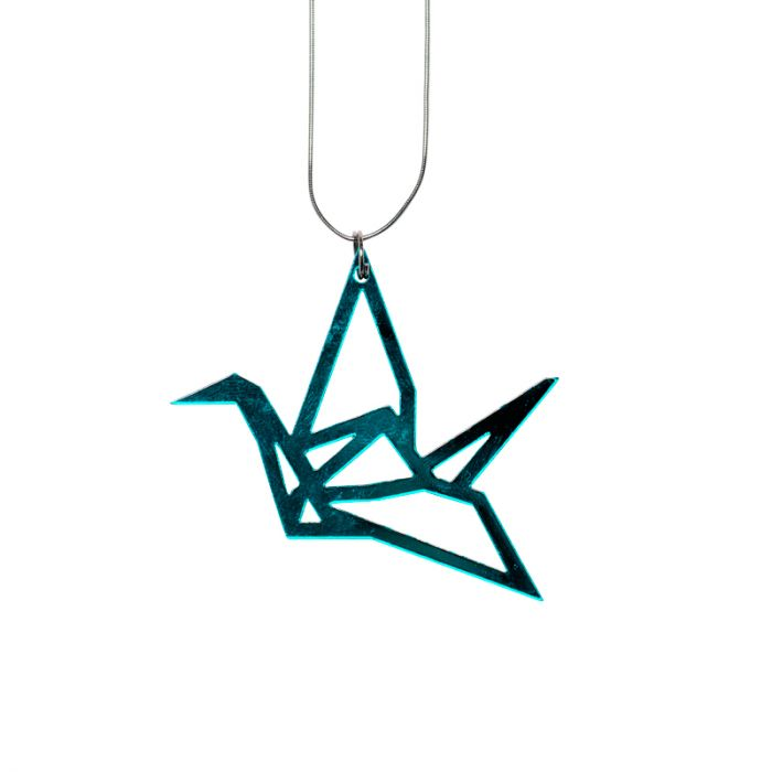 Origami Crane Necklace - 925 Sterling Silver - Genuine Abalone ... | 700x700